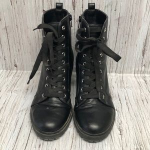 Brash Tall heeled black lace up boots